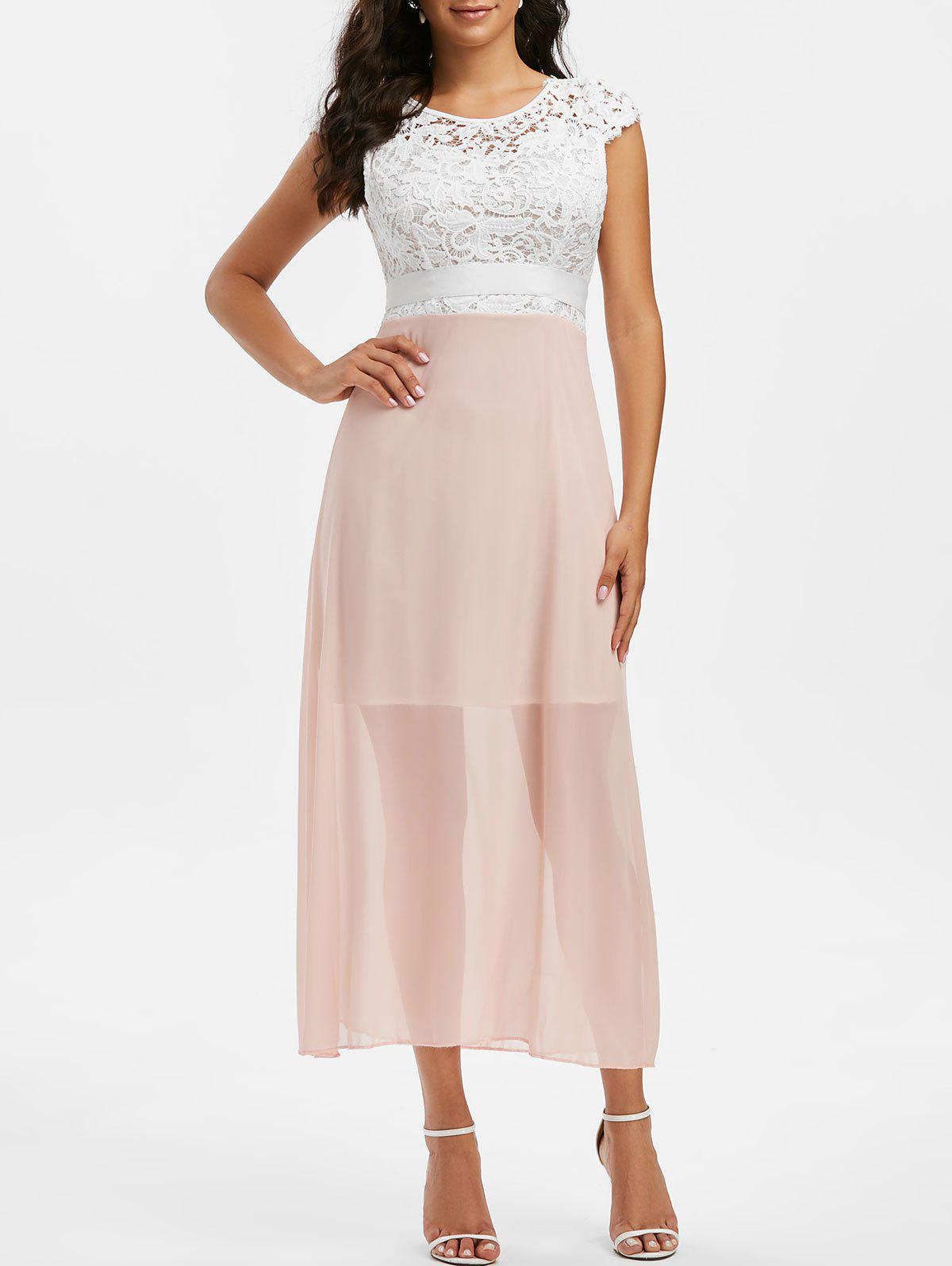 Lace Crochet Chiffon Open Back Prom Dress - LIGHT PINK XL