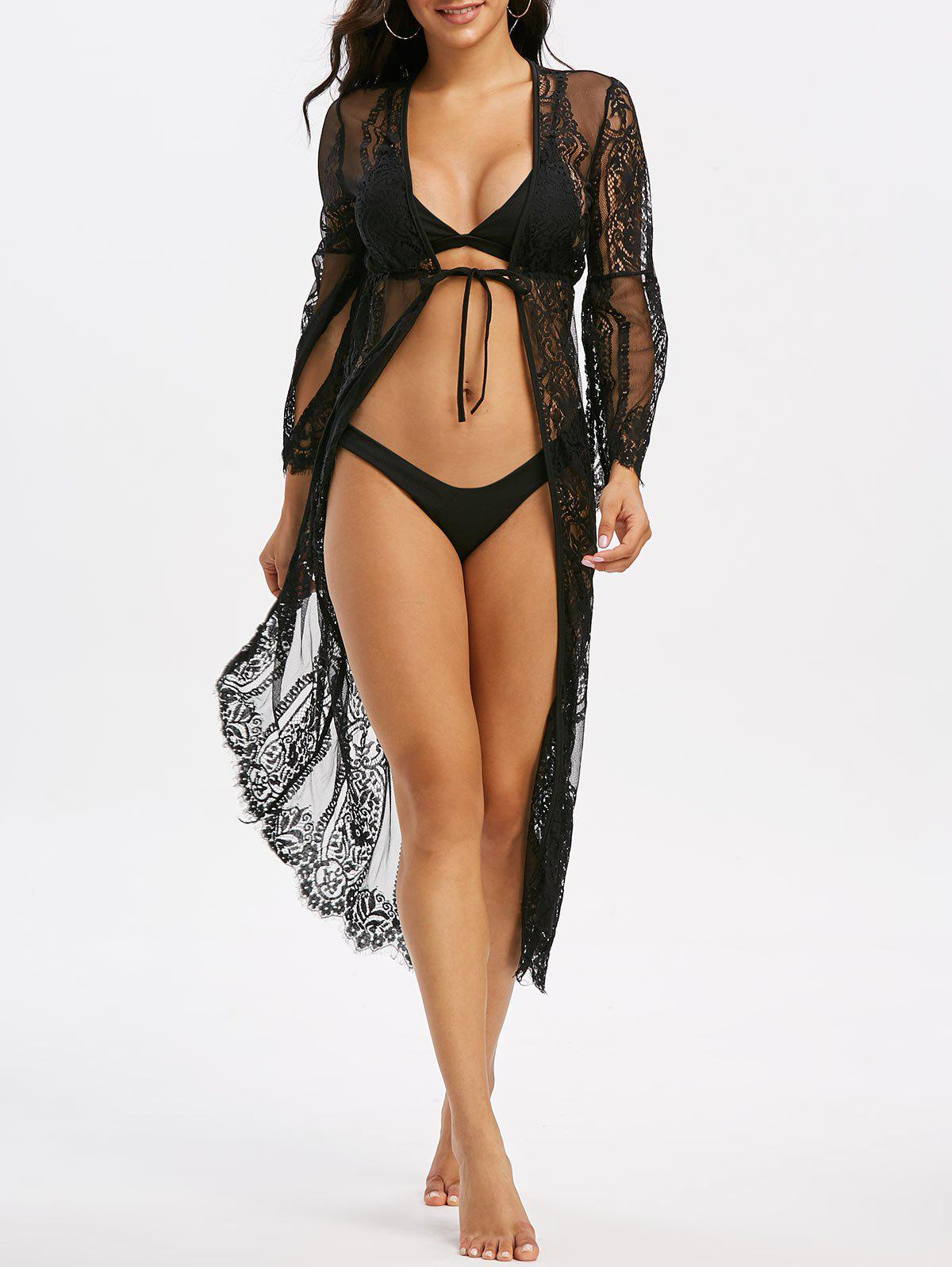 Lace Eyelash Sheer Tie Split Sleeve Longline Cover Up - BLACK S