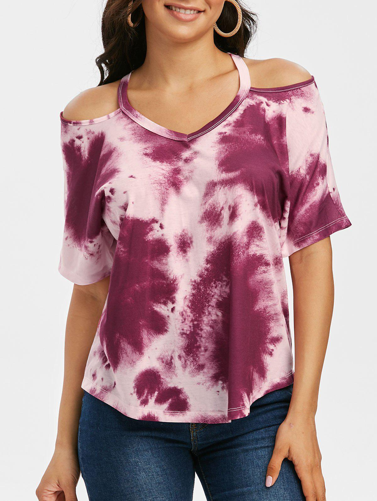 Tie Dye Cold Shoulder High Low T-shirt - DEEP RED S