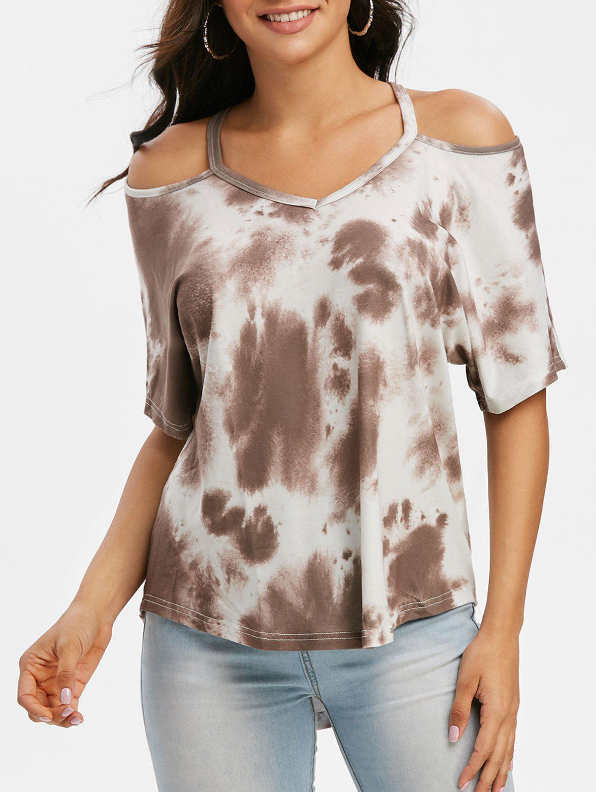 Tie Dye Cold Shoulder High Low T-shirt - LIGHT COFFEE S