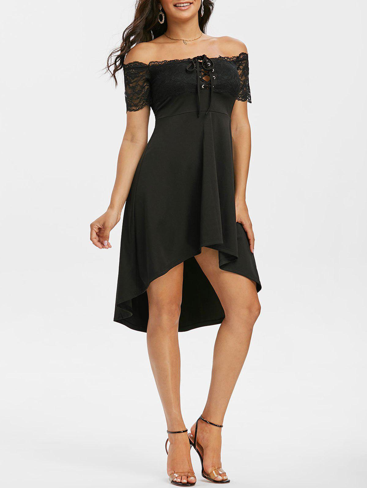 Off The Shoulder Lace Insert High Low Dress - BLACK 3XL