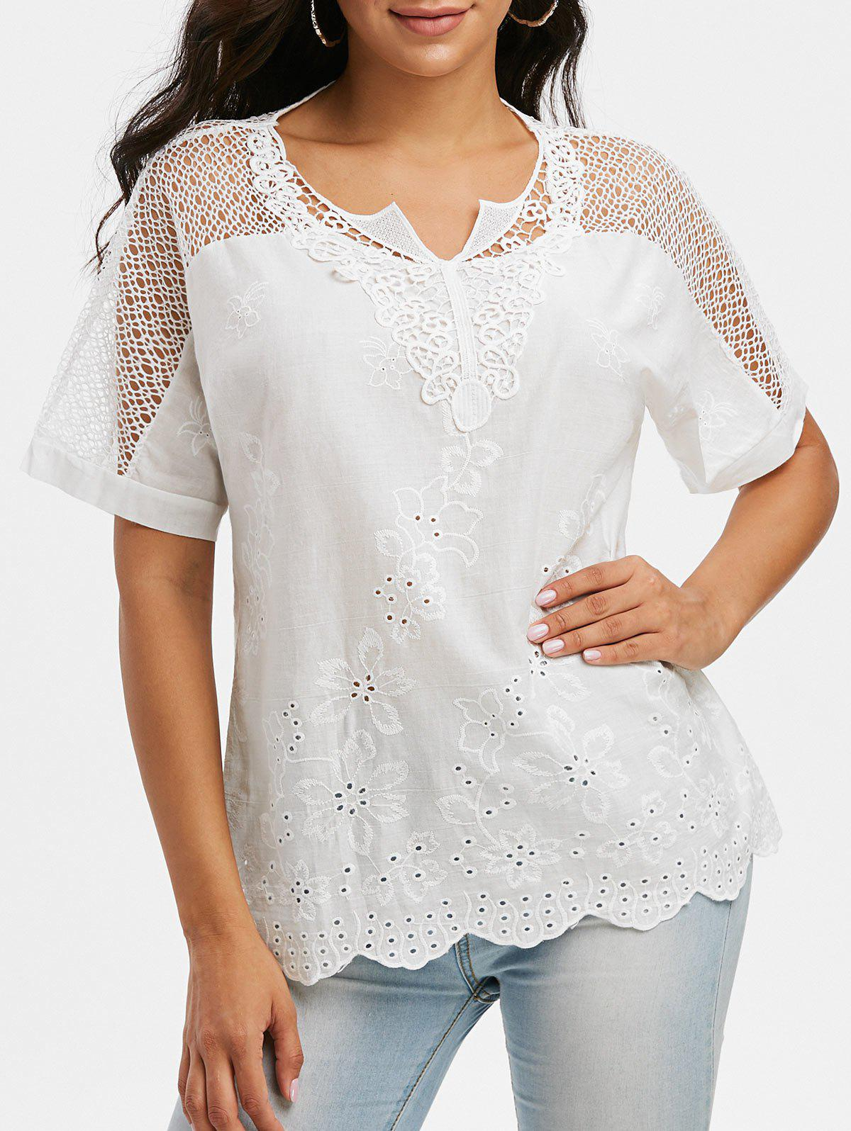 Pure Color Notched Collar Crochet Lace Insert Blouse - WHITE 3XL
