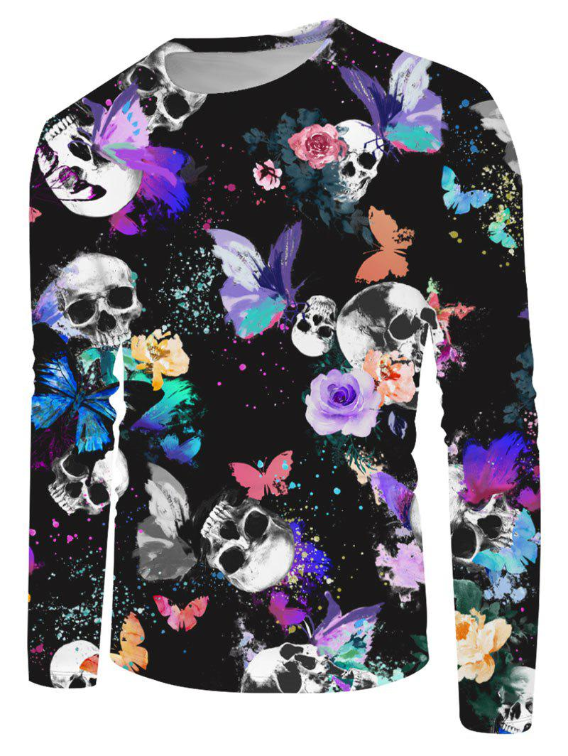 Halloween Skull Butterfly Print Long Sleeve T-shirt - multicolor 3XL