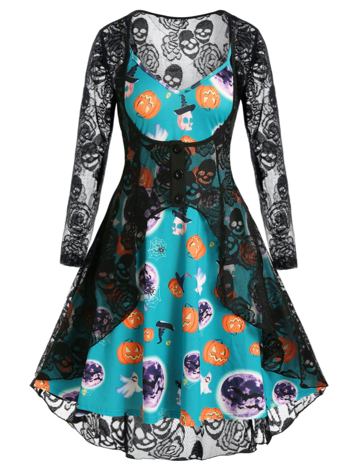 Plus Size Halloween Pumpkin Cami Dress and Lace Cardigan Set - SEA GREEN 5X