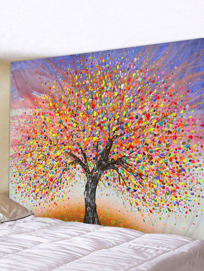 3D Watercolor Tree Painting Decor Tapestry - multicolor W59 X L51 INCH