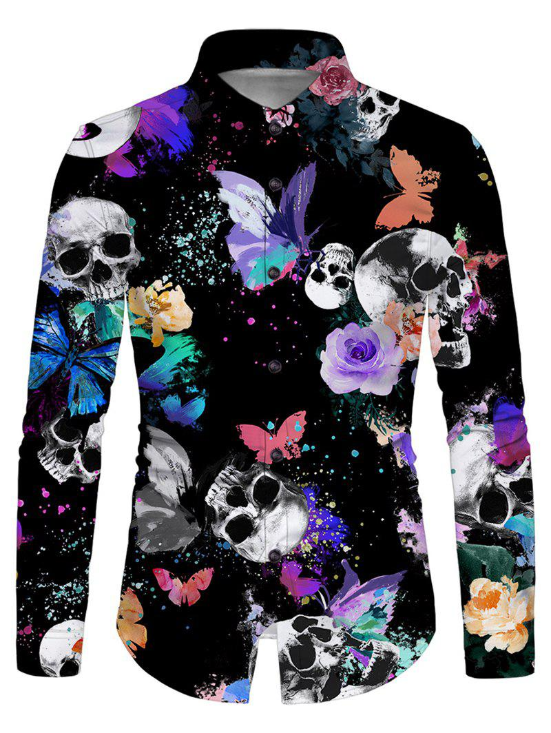 Skull Butterfly Print Button Up Long Sleeve Shirt - multicolor XL