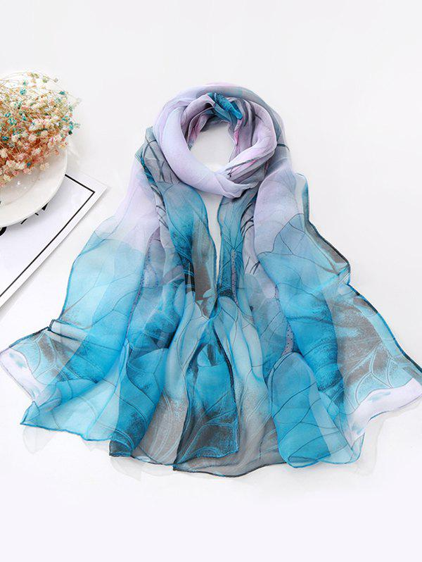 Flower Ink Painting Long Scarf - SILK BLUE