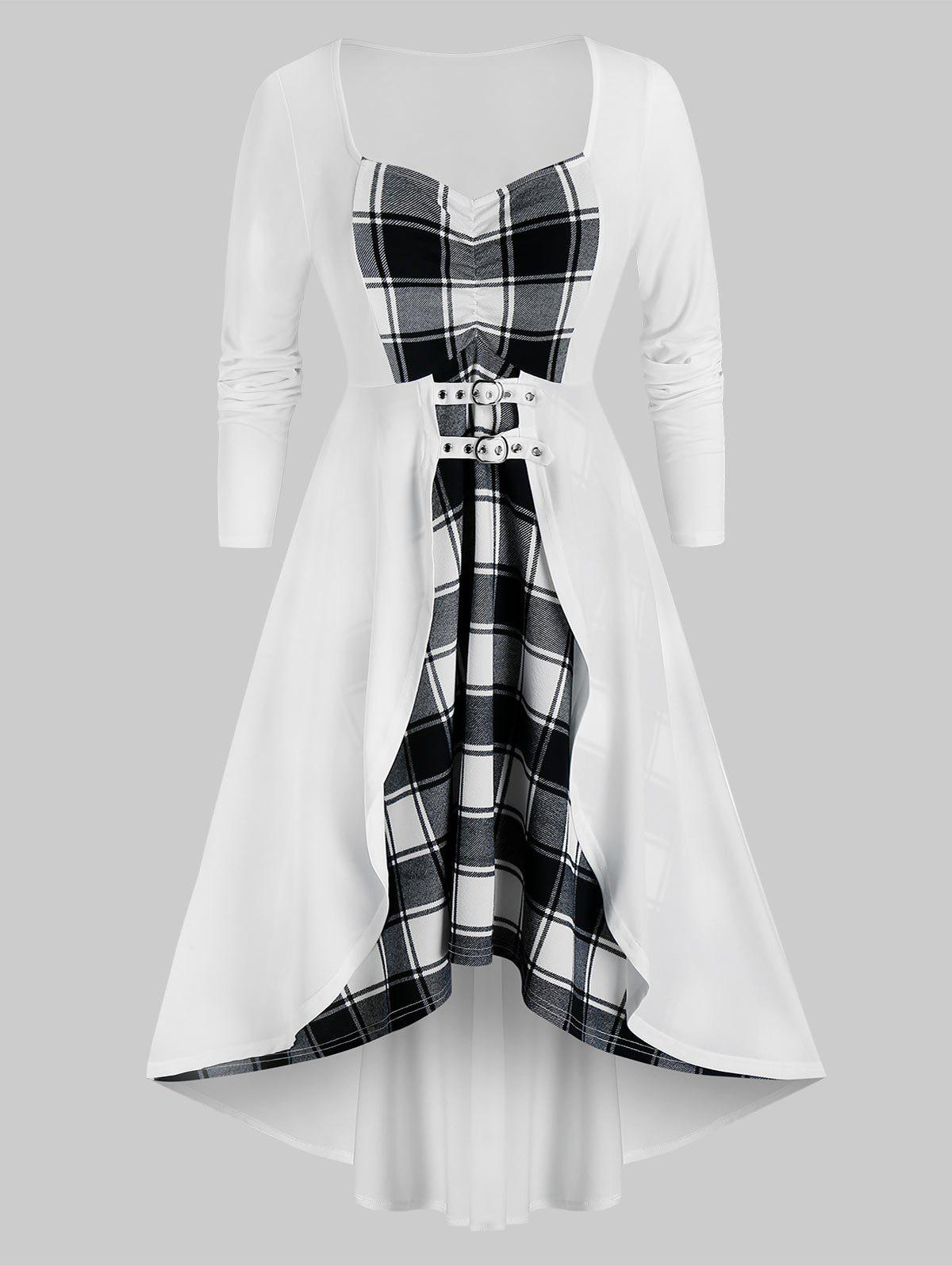 Plus Size Lace Up Plaid High Low Dress - WHITE 1X