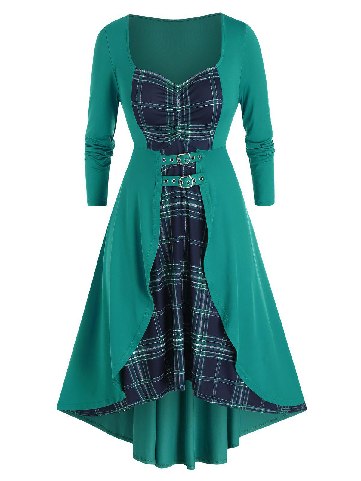 Plus Size Lace Up Plaid High Low Dress - DARK TURQUOISE 1X