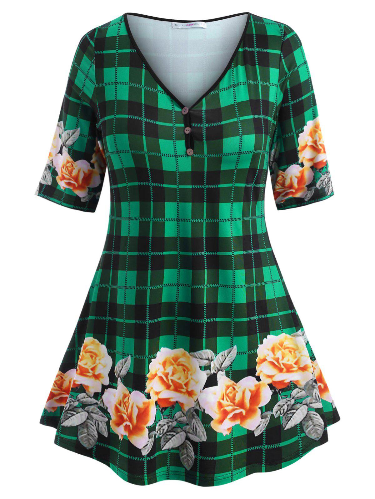 Floral Plaid Mock Buttons Plus Size Top - GREEN L