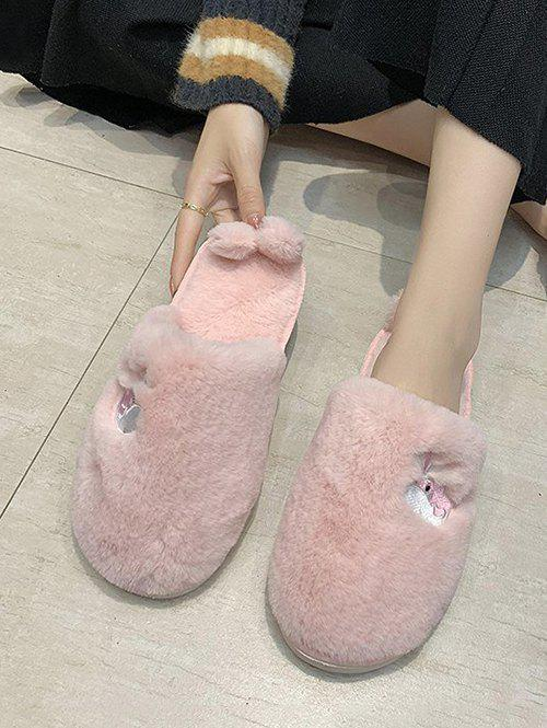 Whale Embroidery Fluffy Indoor Slippers - LIGHT PINK EU 39