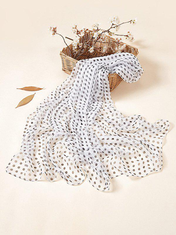 Tiny Dot Sun Protective Chiffon Long Scarf - WHITE