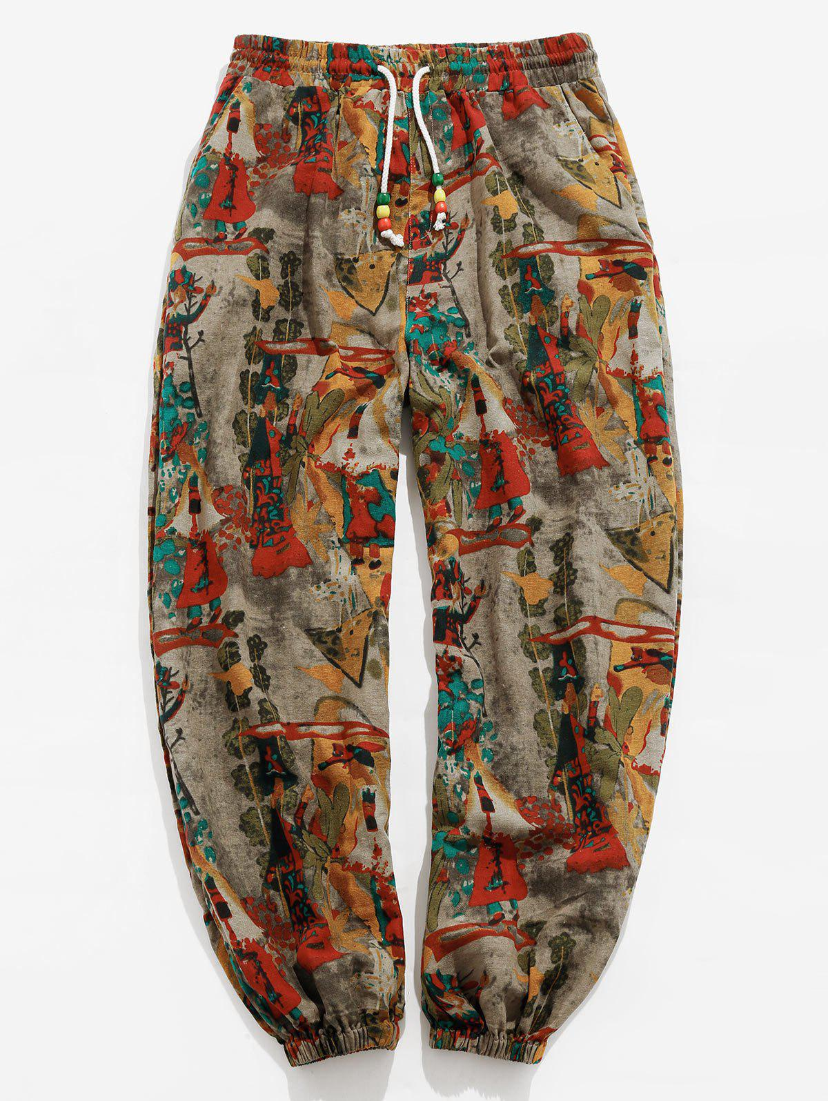 Vintage Print Drawstring Casual Pants - multicolor 2XL