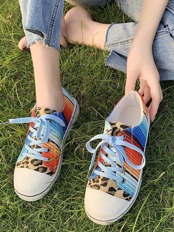 Leopard Colorful Striped Canvas Flat Shoes - LEOPARD EU 40