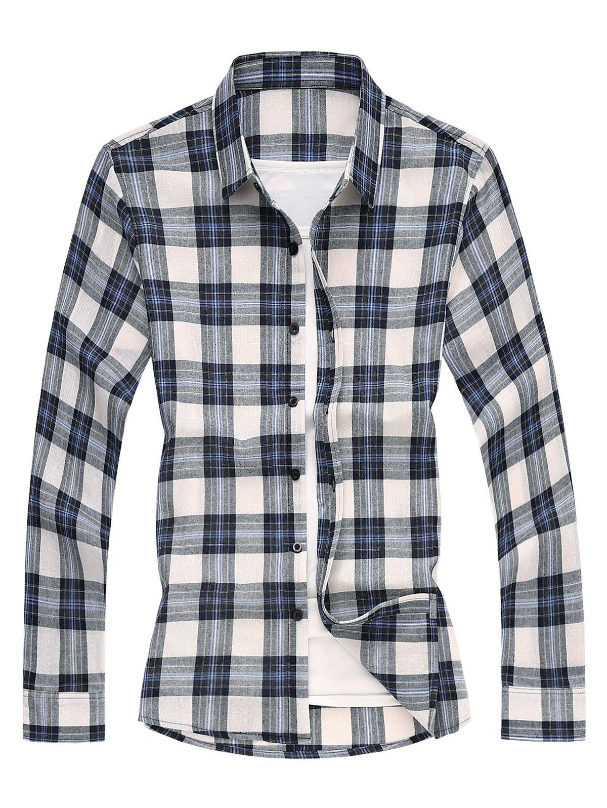 Long Sleeves Shirt with Plaid - BLUE XL