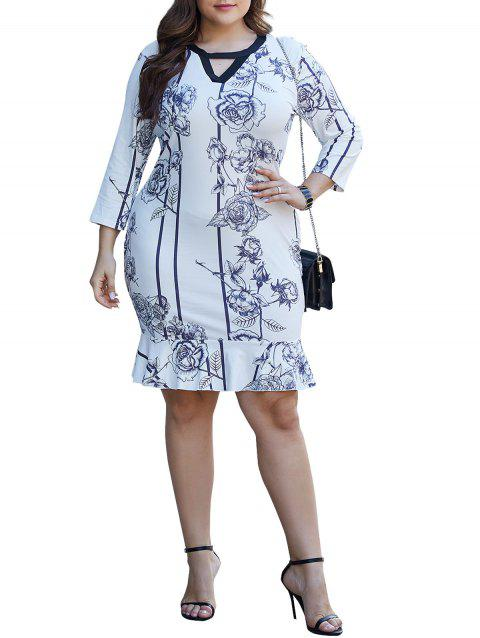 Floral Keyhole Cutout Flounce Plus Size Sheath Dress