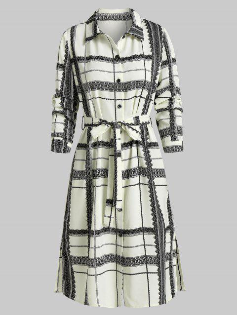 Plaid Print Side Slit Belted Shirt Dress