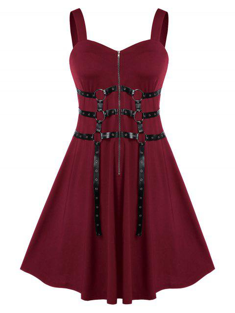 Plus Size Zippered Sweetheart Neck A Line Vintage Dress