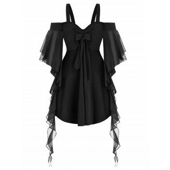 Plus Size Cold Shoulder Butterfly Sleeve Gothic T Shirt