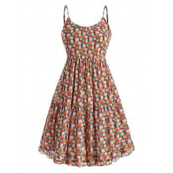 Floral Ruffle Tiered Plus Size Smock Dress