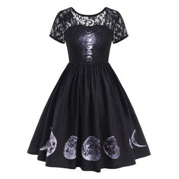 V-back Lace Panel Moon Print Halloween Plus Size Dress
