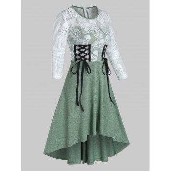 Halloween Skull Lace Insert Lace-up High Low Dress