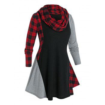 Plus Size Plaid Contrast Long Sleeve Tee with A Scarf