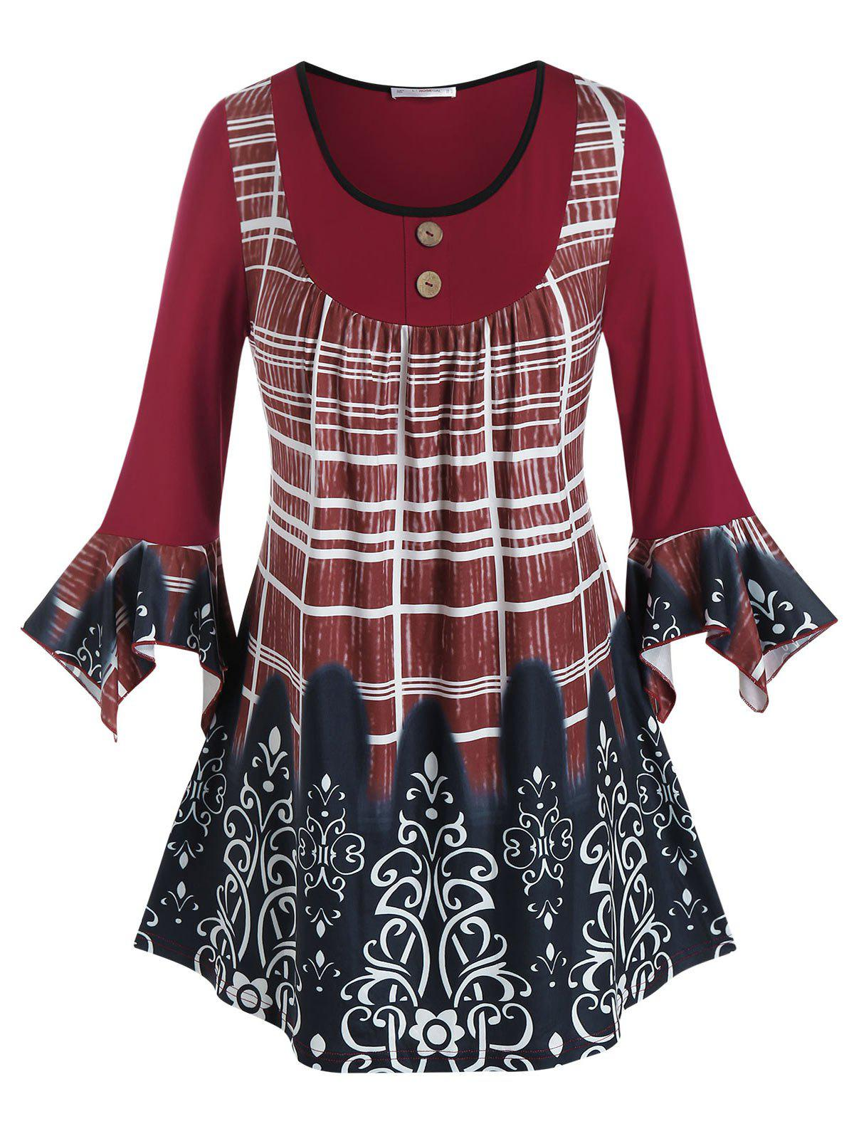 Plus Size Printed Buttoned Ruffle Cuff Tunic Tee - DEEP RED 4X