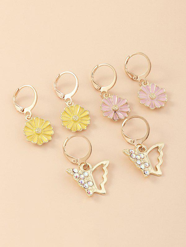 3 Pair Floral Butterfly Clip Earrings Set - multicolor A