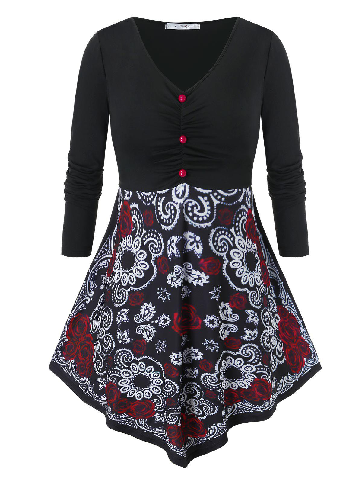 Plus Size Ruched Floral Print Skirted T Shirt - BLACK 5X