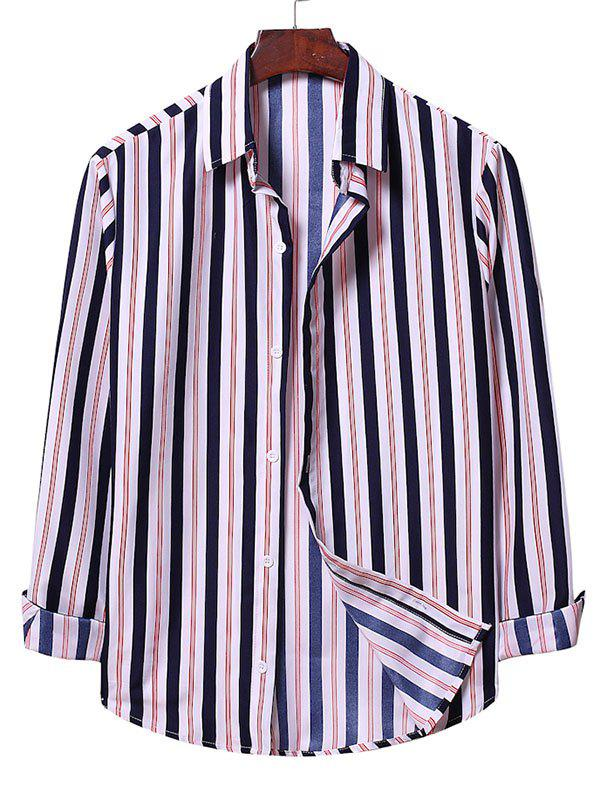 Striped Casual Long Sleeve Button Up Shirt - WHITE 2XL