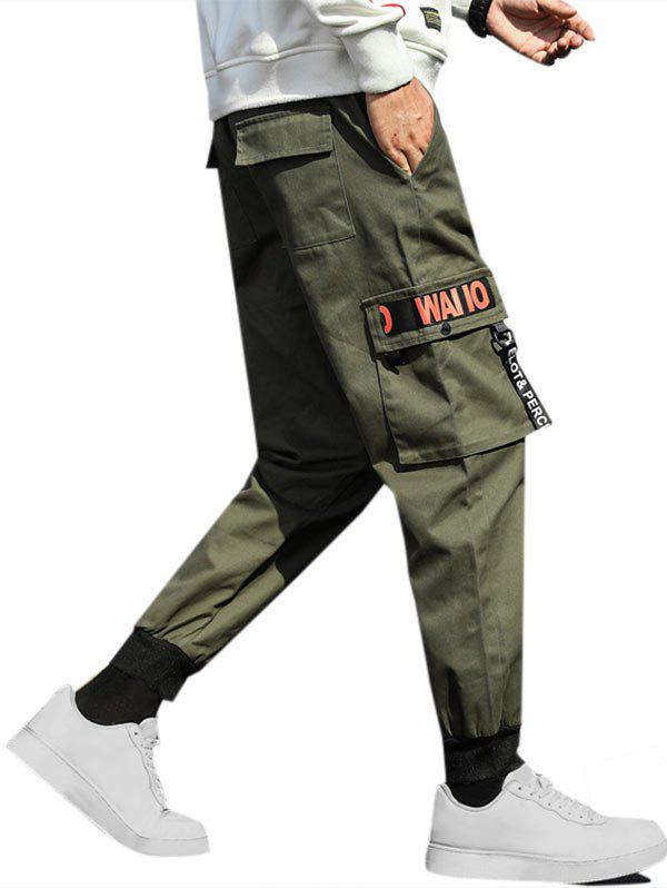 Letter Ribbon Beam Feet Cargo Pants - ARMY GREEN L