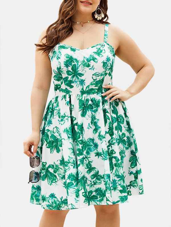 Sweetheart Neck Floral Plus Size Smock Dress - DEEP GREEN 2XL