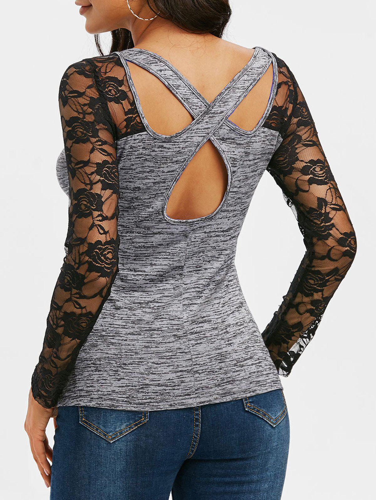 Space Dye Print Lace Insert Cut Out T-shirt - DARK GRAY M