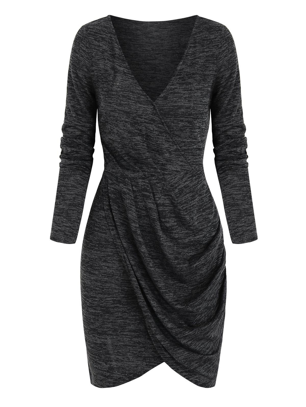 Space Dye Print Long Sleeve Tulip Dress - CARBON GRAY 3XL