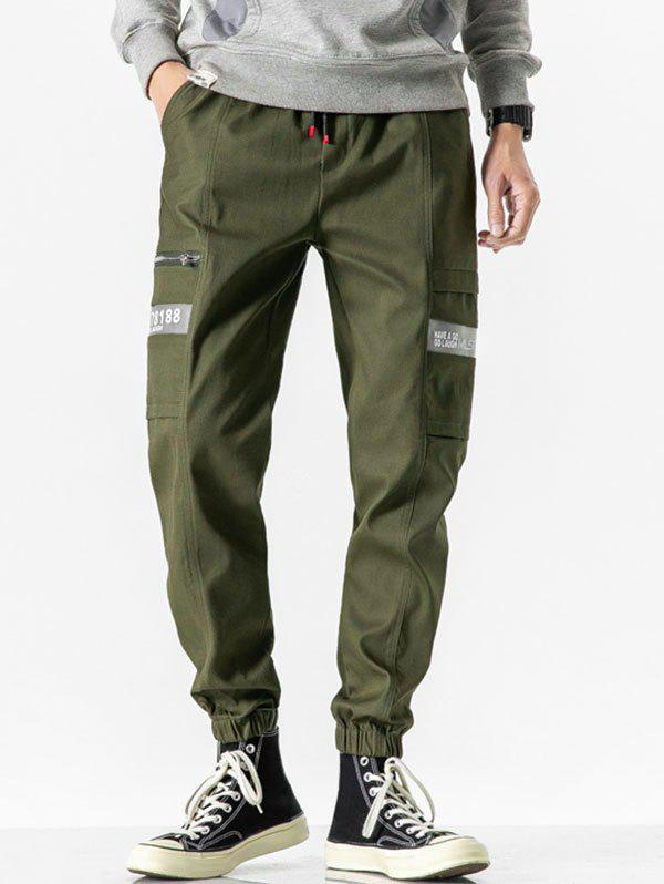 Letter Print Drawstring Casual Cargo Pants - ARMY GREEN M