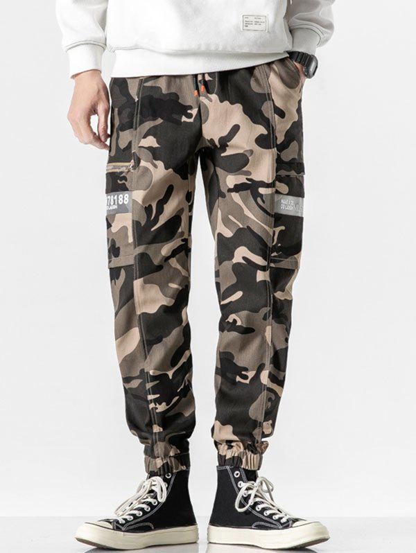 Letter Print Drawstring Casual Cargo Pants - WOODLAND CAMOUFLAGE M