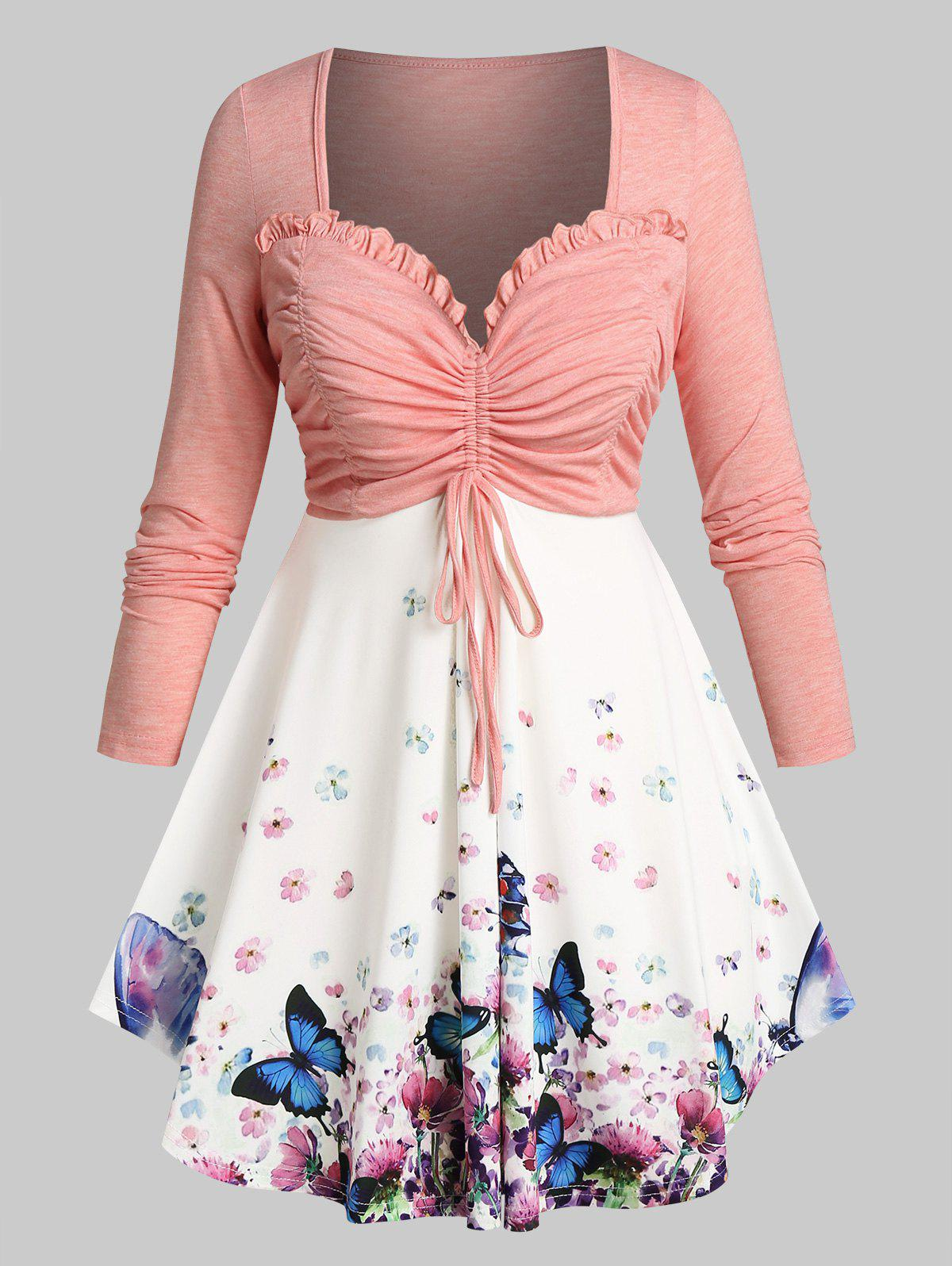 Plus Size Floral Butterfly Ruched Bust Long Sleeve Tee - LIGHT PINK 4X