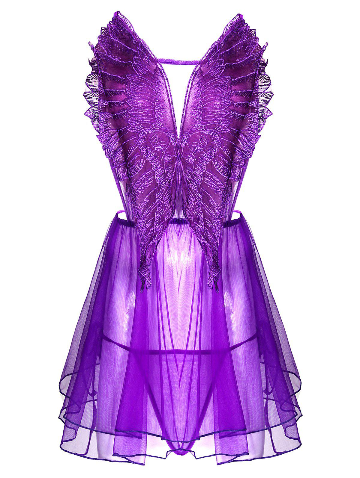Criss Cross Embroidered Sheer Mesh Lingerie Babydoll - PURPLE ONE SIZE