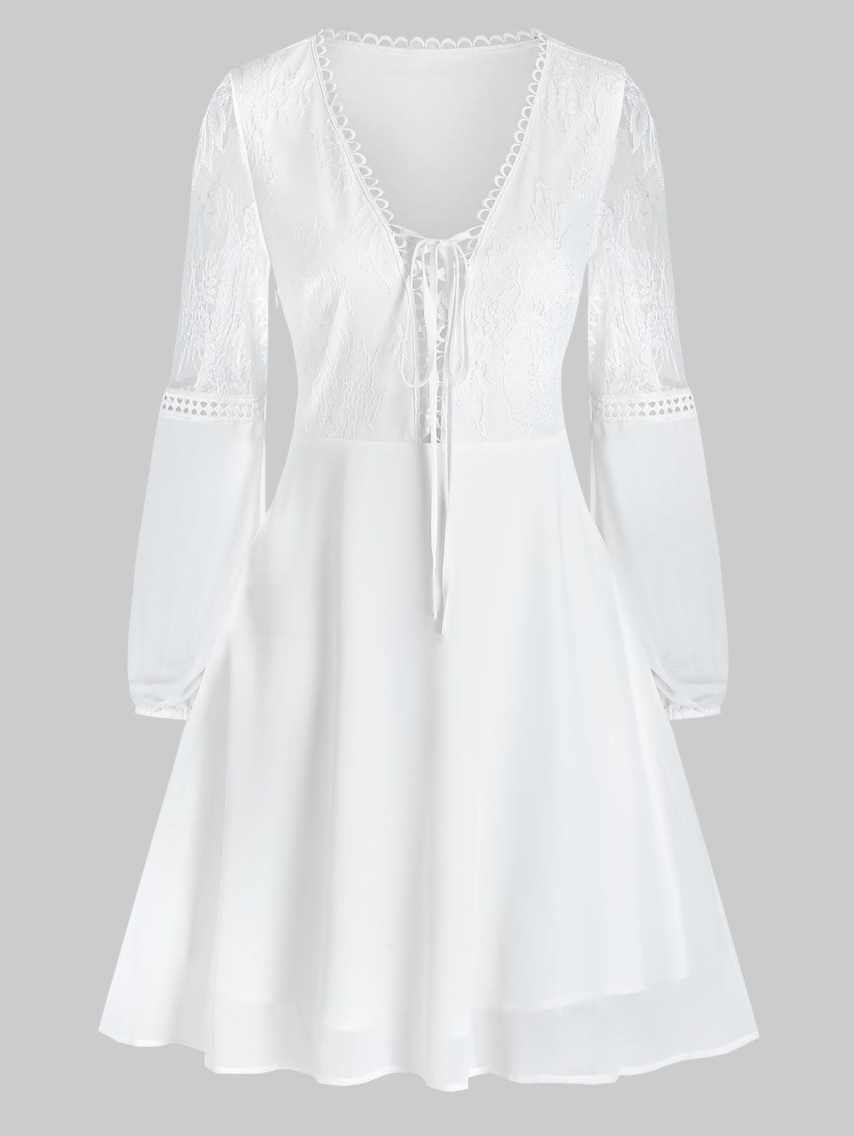 Plain Lace Up Plunging Neck Mini Long Sleeve Dress - WHITE XL