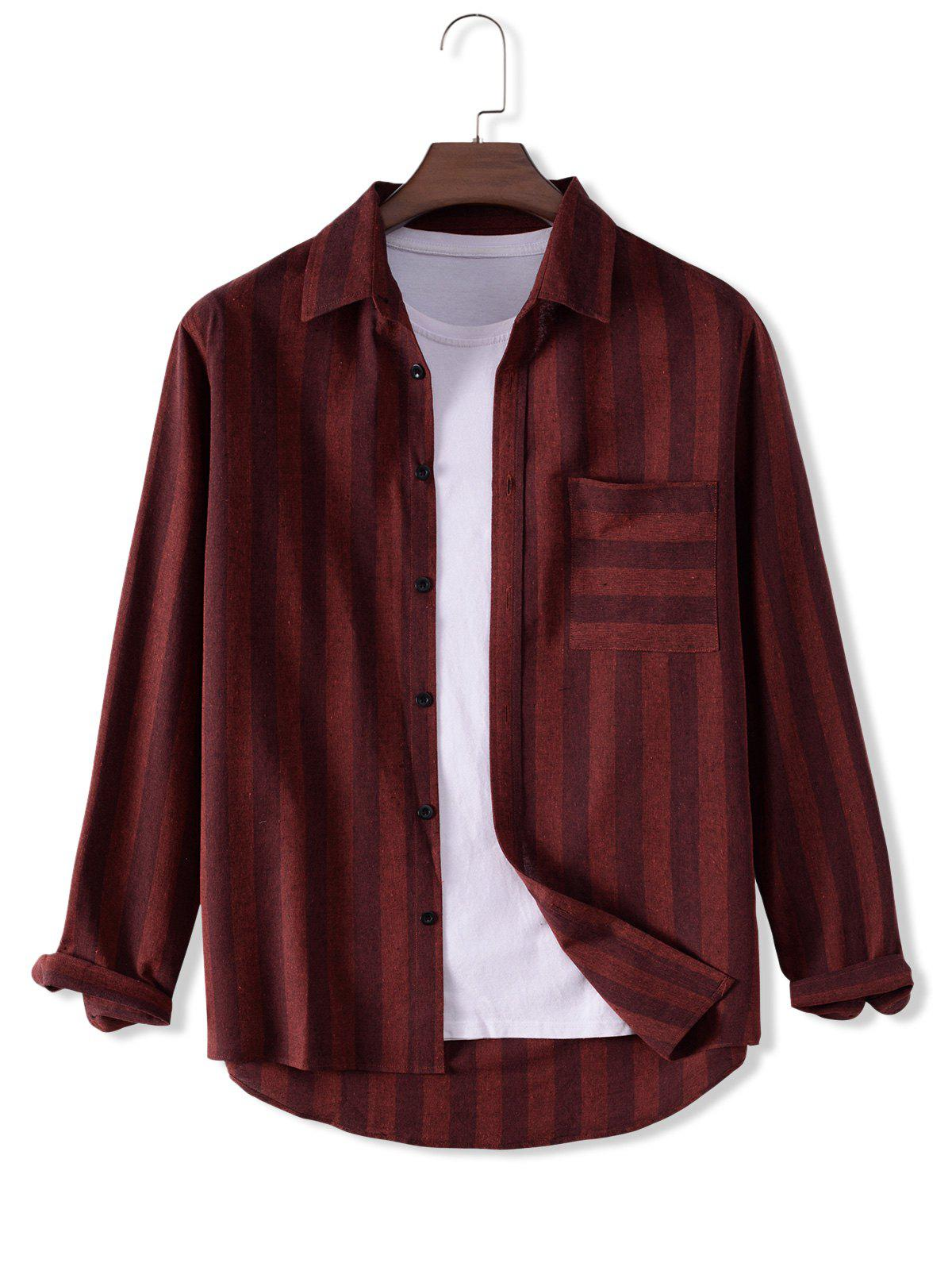 Striped Front Pocket Dseign Button Up Shirt - DEEP RED M