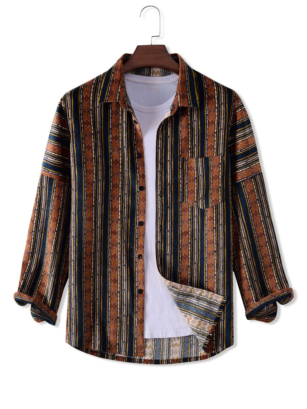 Button Up Geometry Pattern Long Sleeve Corduroy Shirt - multicolor 2XL
