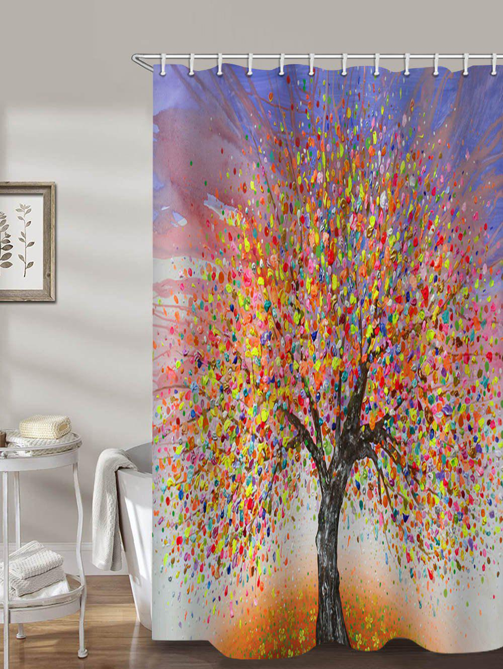 Digital Printing Colored Tree Waterproof Shower Curtain - multicolor W71 X L71 INCH
