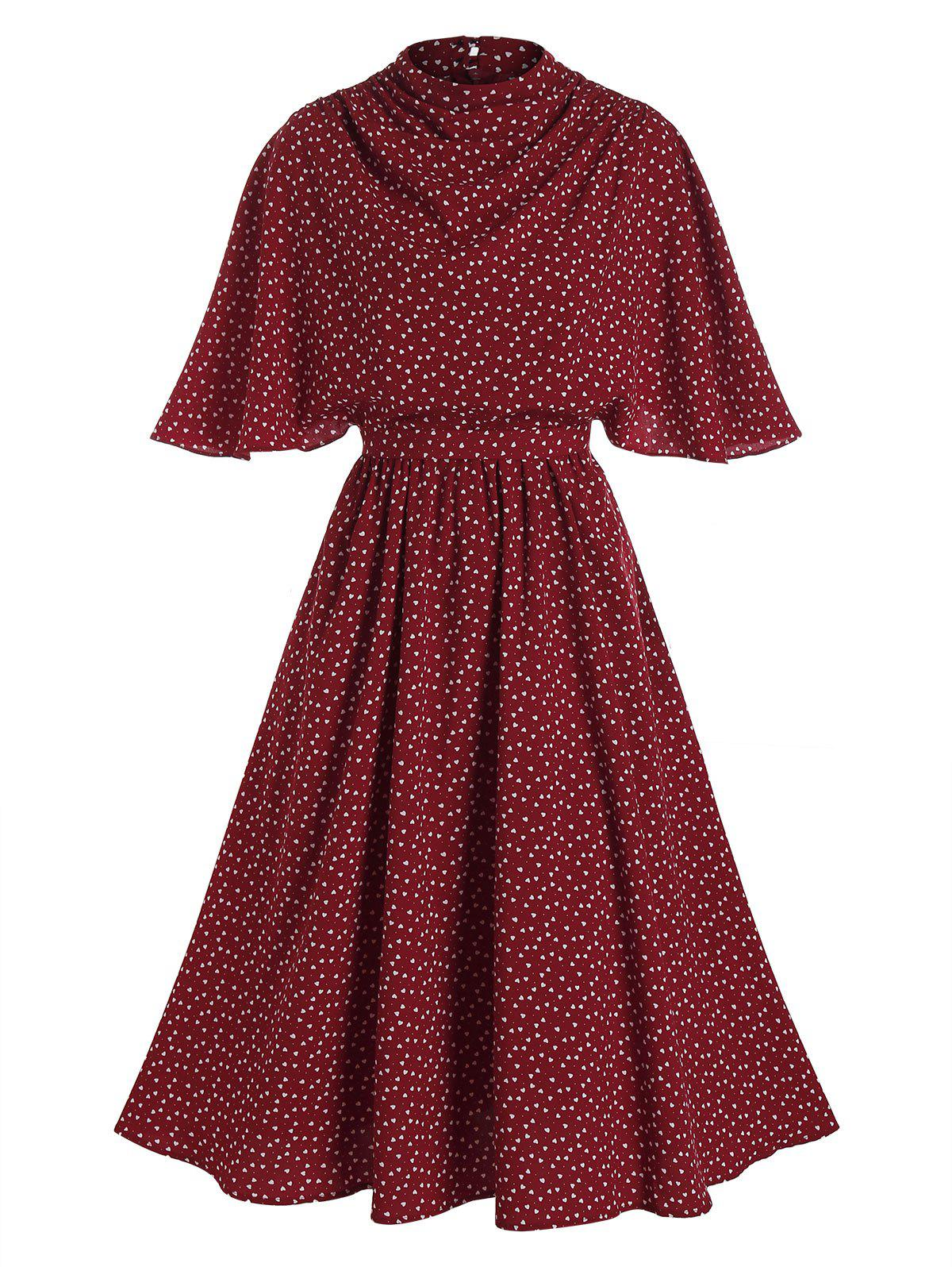 Heart Print Belted Butterfly Sleeve Dress - RED WINE M