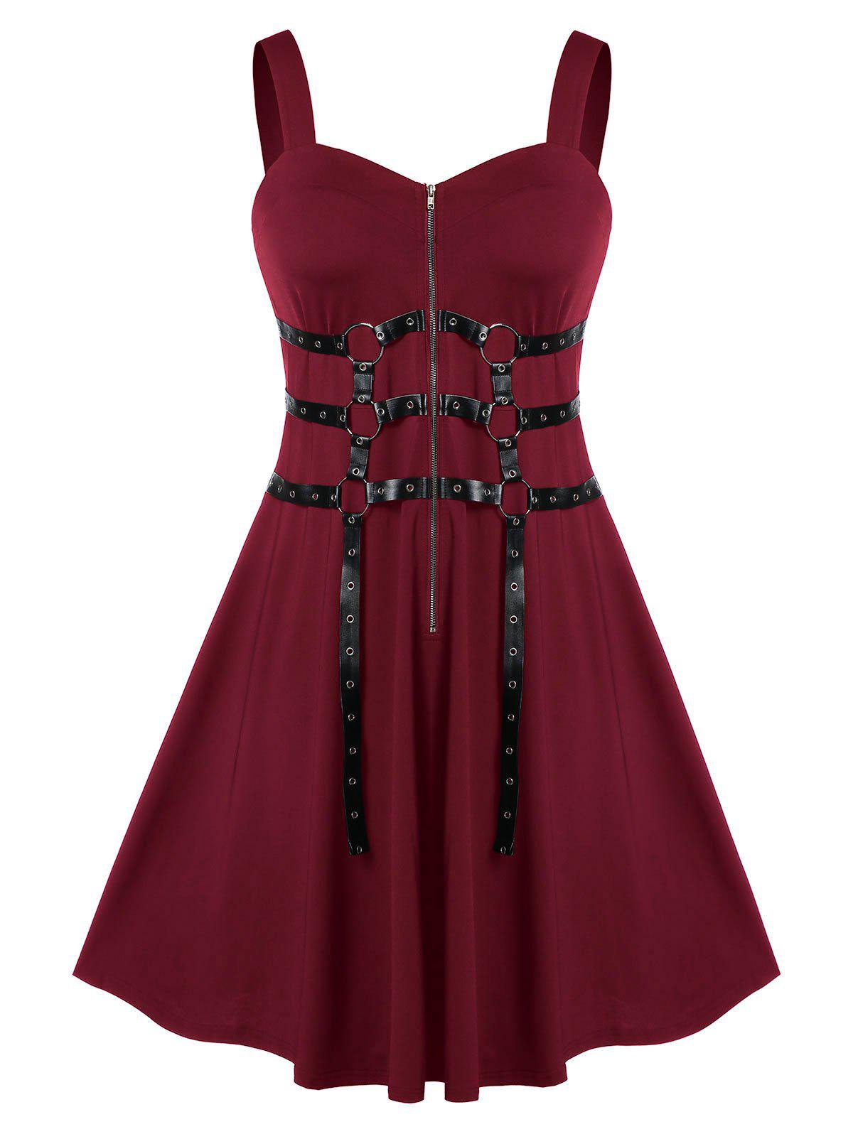 Plus Size Zippered Sweetheart Neck A Line Vintage Dress - DEEP RED 2X