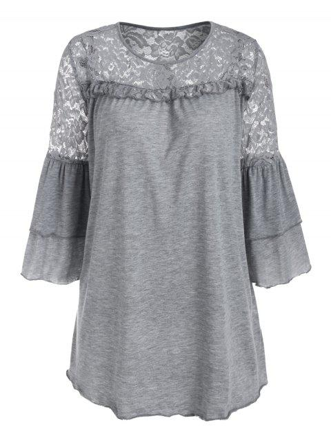 Lace Panel Marled Lettuce Trim Layered Sleeve Plus Size Top