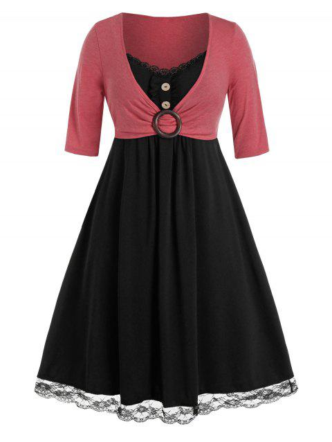 Plus Size Lace Panel O Ring Button Embellished Twofer Dress