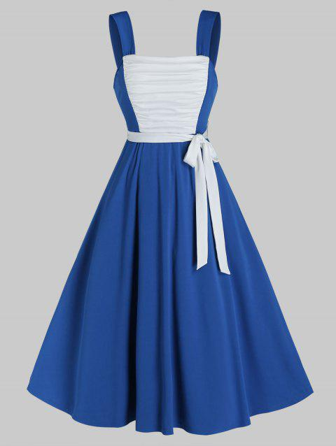 Sleeveless Ruched Front Belted Flare Dress