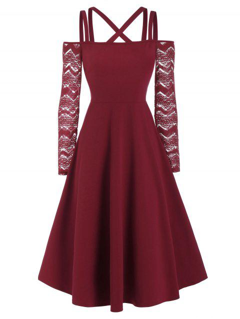 Straps Lace Sleeve Fit And Flare Dress