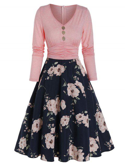Floral Print Button 2 In 1 High Waist A Line Dress